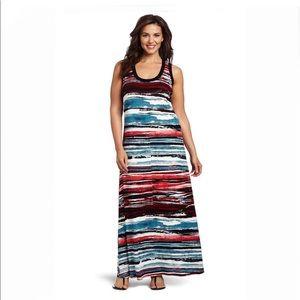 Karen Kane painted maxi dress lined sleeveless